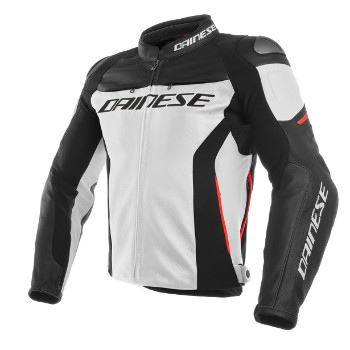 DAINESE bőrdzseki - RACING 3 LEATHER JACKET 777 WHITE/BLACK/RED
