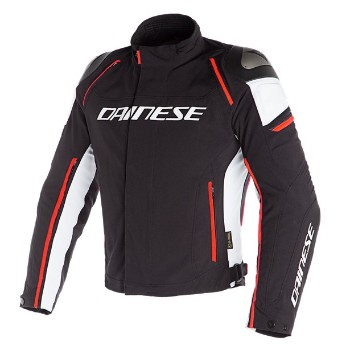 DAINESE dzseki - RACING 3 D-DRY JACKET BLACK/WHITE/FLUO-RED